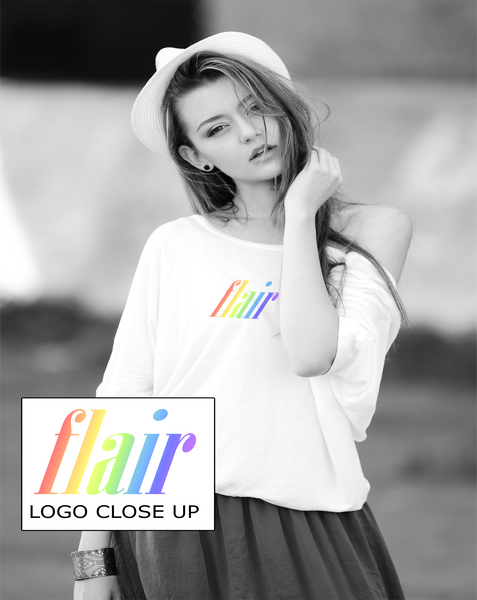 "Ladies Long T-Shirt in White with simple logo saying ""Flair"" written in rainbow colours"