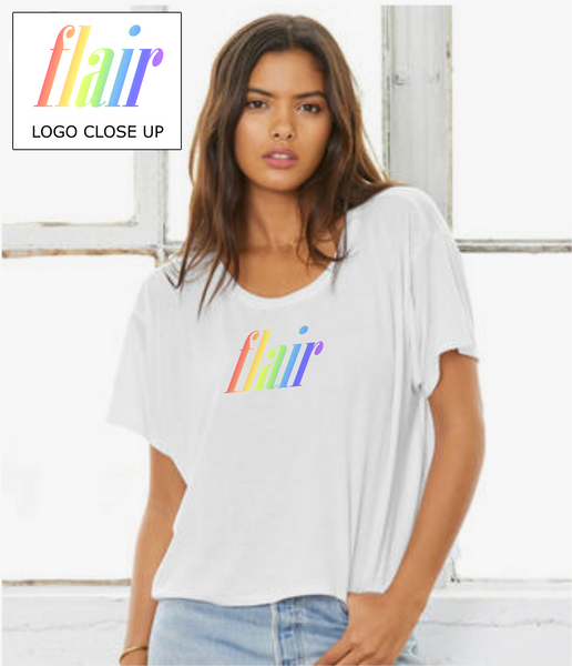 "Ladies Flowy Boxy T-Shirt in White with simple logo saying ""Flair"" written in rainbow colours"