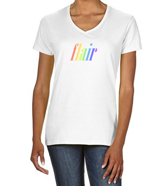 "Ladies V Neck T-Shirt in White with simple logo saying ""Flair"" written in rainbow colours"