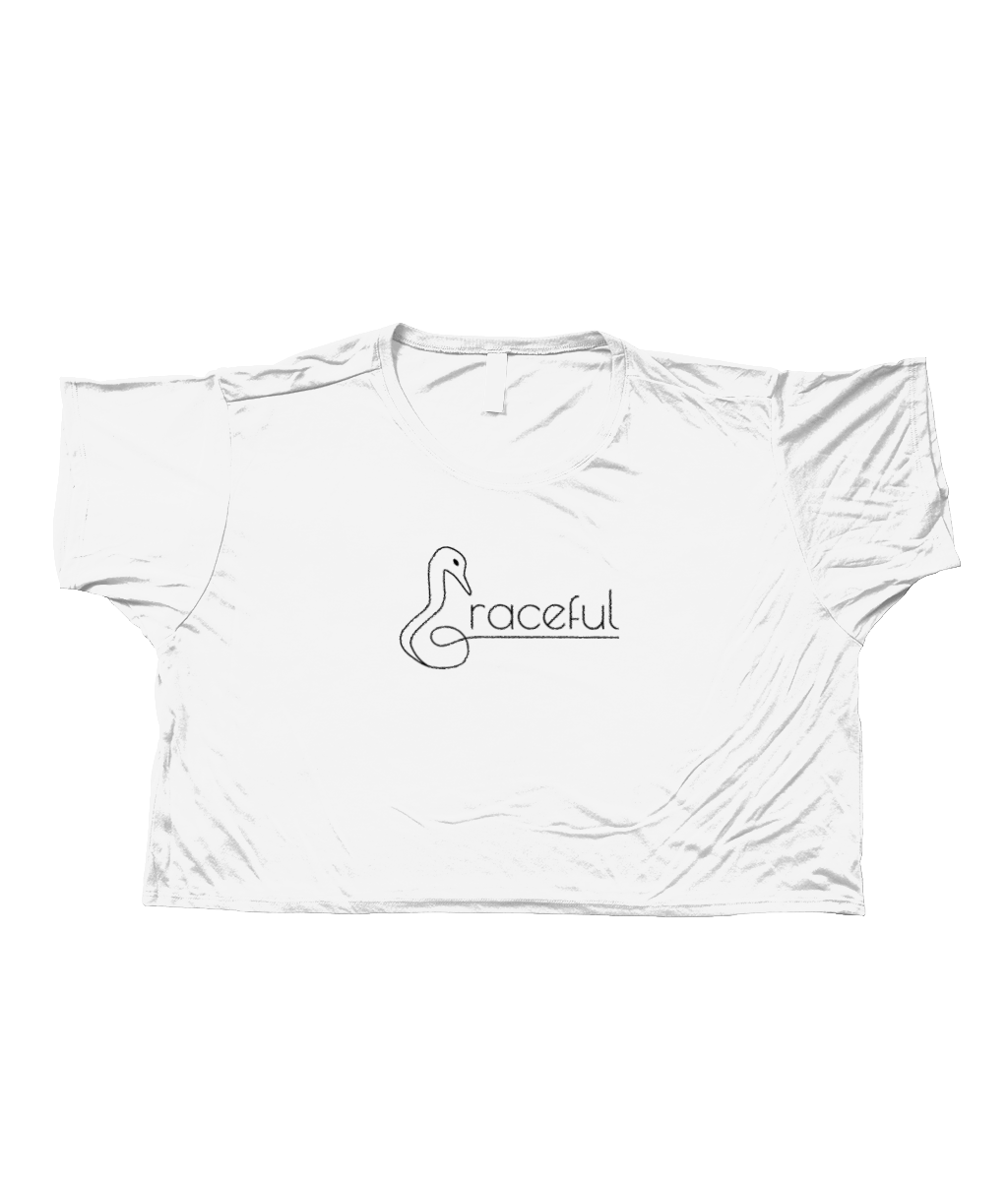 "Ladies Flowy Boxy T-Shirt in White with simple logo saying ""Graceful"" with a swan neck shaped letter ""G"" for Graceful"