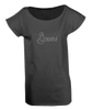 "Ladies Long T-Shirt in Black with simple logo saying ""Graceful"" with a swan neck shaped letter ""G"" for Graceful"
