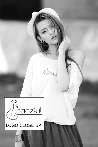 "Ladies T-Shirt in White with simple logo saying ""Graceful"" with a swan neck shaped letter ""G"" for Graceful"