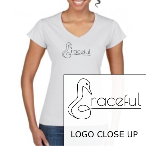 "Ladies V Neck T-Shirt in White with simple logo saying ""Graceful"" with a swan neck shaped letter ""G"" for Graceful"