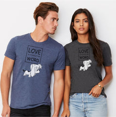 Dog Lovers T-Shirt - Love is a four letter word with picture of cute puppy on 2 models