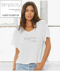 "Ladies Flowy Boxy T-Shirt in White with simple logo saying ""Simplicity is the ultimate sophistication"" by Leonardo da Vinci"