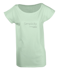 Ladies Long T-Shirt in Jade with simple logo saying