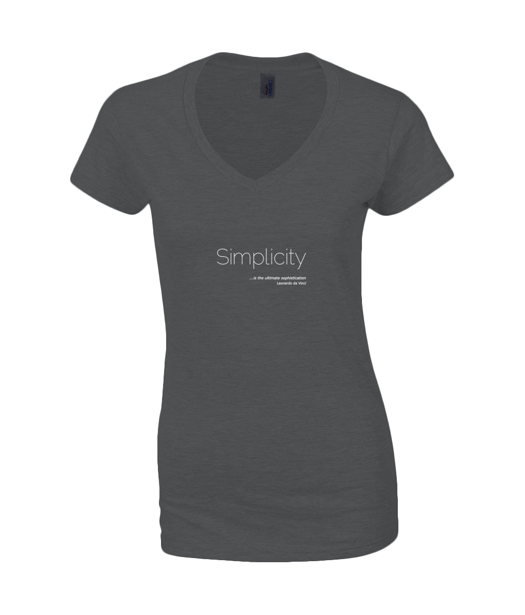 "Ladies V Neck T-Shirt in Black with simple logo saying ""Simplicity is the ulimate sophistication"" by Leonardo da Vinci embedded into the swirling logo"