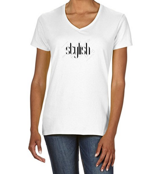 "Ladies V Neck T-Shirt in White with simple logo saying ""Stylish"" with other background words"