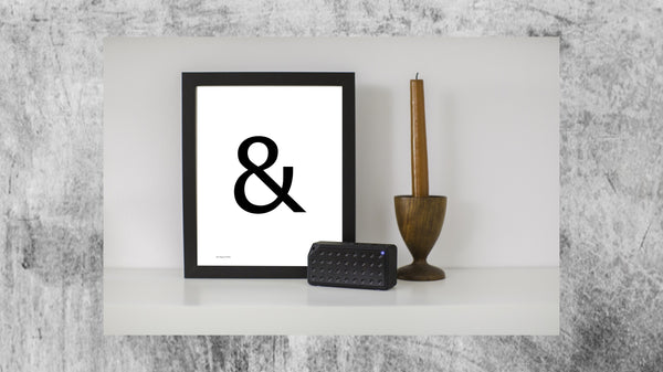 the symbol ampersand on a portrait poster from Artysan Prints A4 A3 or digital download