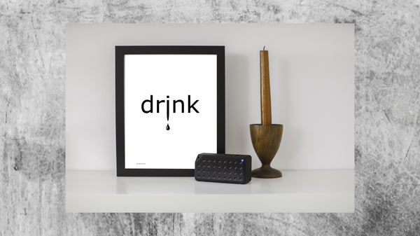 the word drink on a portrait poster from Artysan Prints A4 A3 or digital download