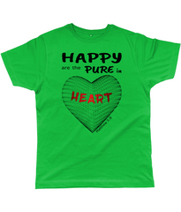 Happy are the pure in heart logo on a unisex kelly green colour tshirt