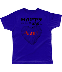 Happy are the pure in heart logo on a unisex blue_purple colour tshirt