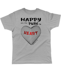 Happy are the pure in heart logo on a unisex grey colour tshirt