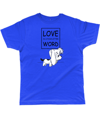 Dog Lovers T-Shirt - Love is a four letter word with picture of cute puppy in True Royal Blue