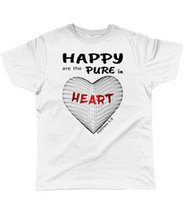 Happy are the pure in heart logo on a unisex white colour tshirt