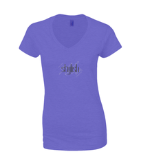 Ladies V Neck T-Shirt in Heather Purple with simple logo saying