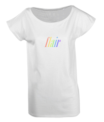 Ladies Long T-Shirt in White with simple logo saying