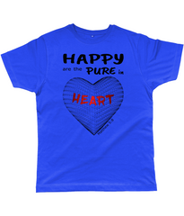 Happy are the pure in heart logo on a unisex true royal colour tshirt