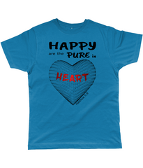 Happy are the pure in heart logo on a unisex deep teal colour tshirt