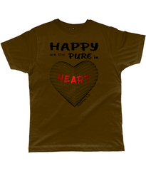 Happy are the pure in heart logo on a unisex brown colour tshirt