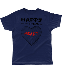 Happy are the pure in heart logo on a unisex navy colour tshirt