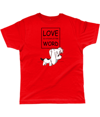 Dog Lovers T-Shirt - Love is a four letter word with picture of cute puppy in Red