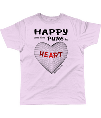 Happy are the pure in heart logo on a unisex soft pink colour tshirt