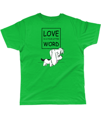Dog Lovers T-Shirt - Love is a four letter word with picture of cute puppy in Kelly Green
