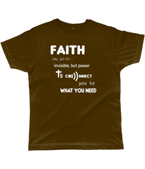 Faith Like Wifi Funny Christian Quote on a Unisex Brown T-Shirt