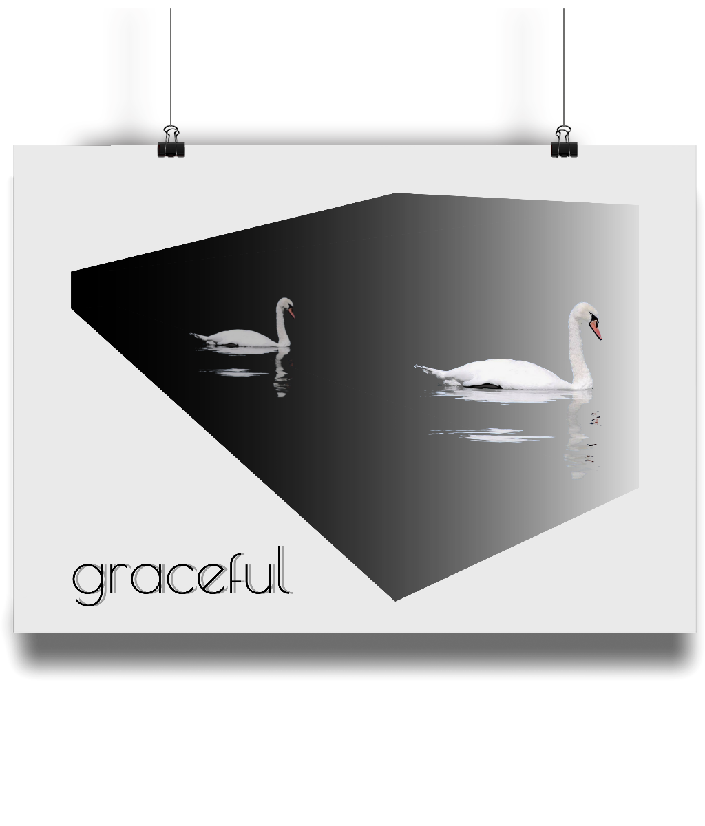 Graceful - Swan Landscape Poster