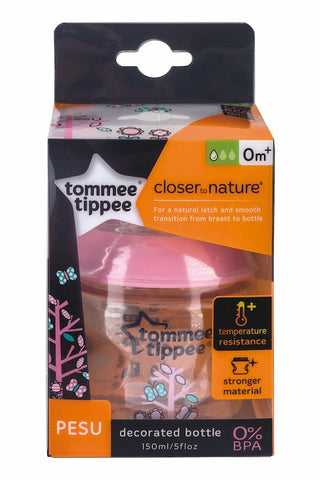 Tommee Tippee 香港 Closer to Nature 150ml PESU 印花奶瓶(粉紅)