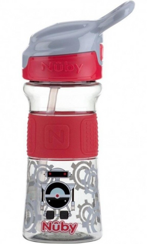 Nuby 1pk 12oz/360ml Soft Spout On the Go Sports Bottle with Push Button - Red