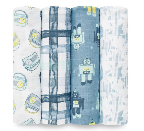 Aden + Anais SWADDLE PLUS RETRO 4PK