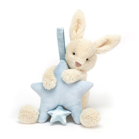 Jellycat HK Sale Star Bunny Blue Musical Pull