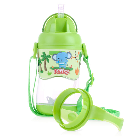 Nuby 1pk 400ml Tritan Flip It with 3D Vinyl Wrap with Weighted Straw - Green