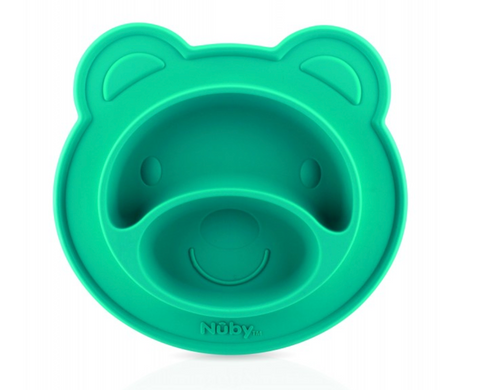 Nuby Bear Face Shaped Feeding Mat - LFGB Silicone – Aqua