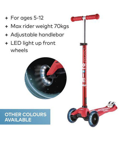 Micro Scooter HK Sale Maxi Micro Deluxe LED Red