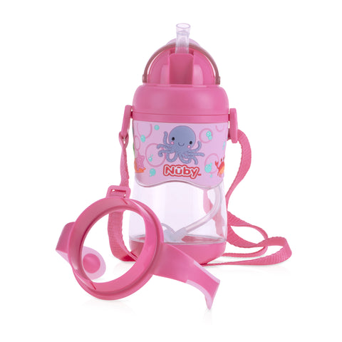 Nuby 1pk 400ml Tritan Flip It with 3D Vinyl Wrap with Weighted Straw - Pink