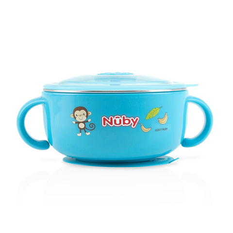 Nuby HK Sale Large Stainless Steel Suction Bowl with Water Reservoir and Lid-Blue