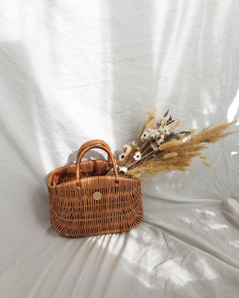 Hers Wave Barcelona Wicker Basket Bag Handmade in Europe