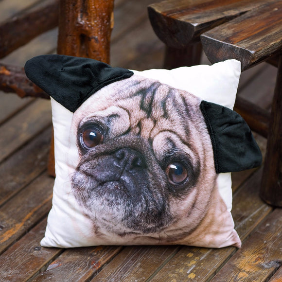 3D Decorative Cute Pug Pillow Case