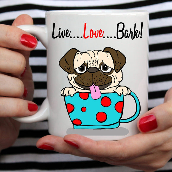 Live, Love, Bark Ceramic Pug Mug