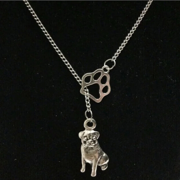Vintage Silver Pug Necklace