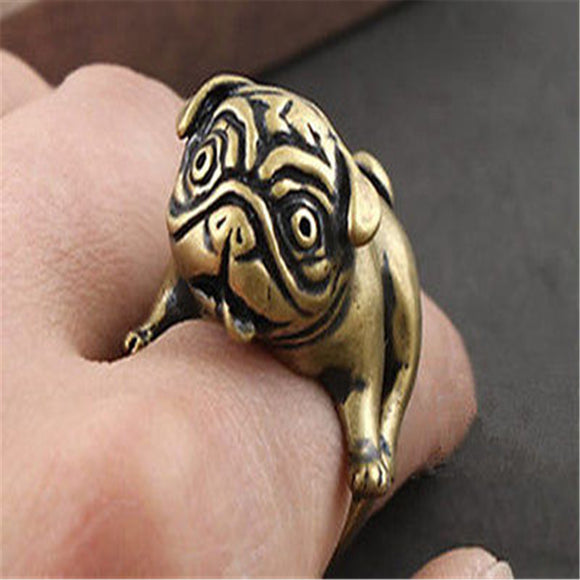 Puppy Pug Inspired Metal Ring