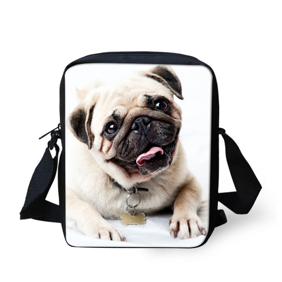 Smiling Pug Messenger Bag