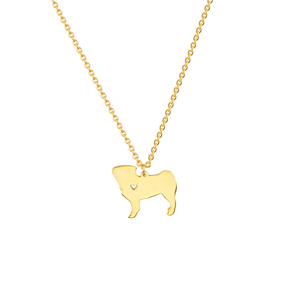 Pug Heart Gold/Silver Plated Necklace