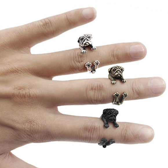 Trendy Adjustable Pug Ring