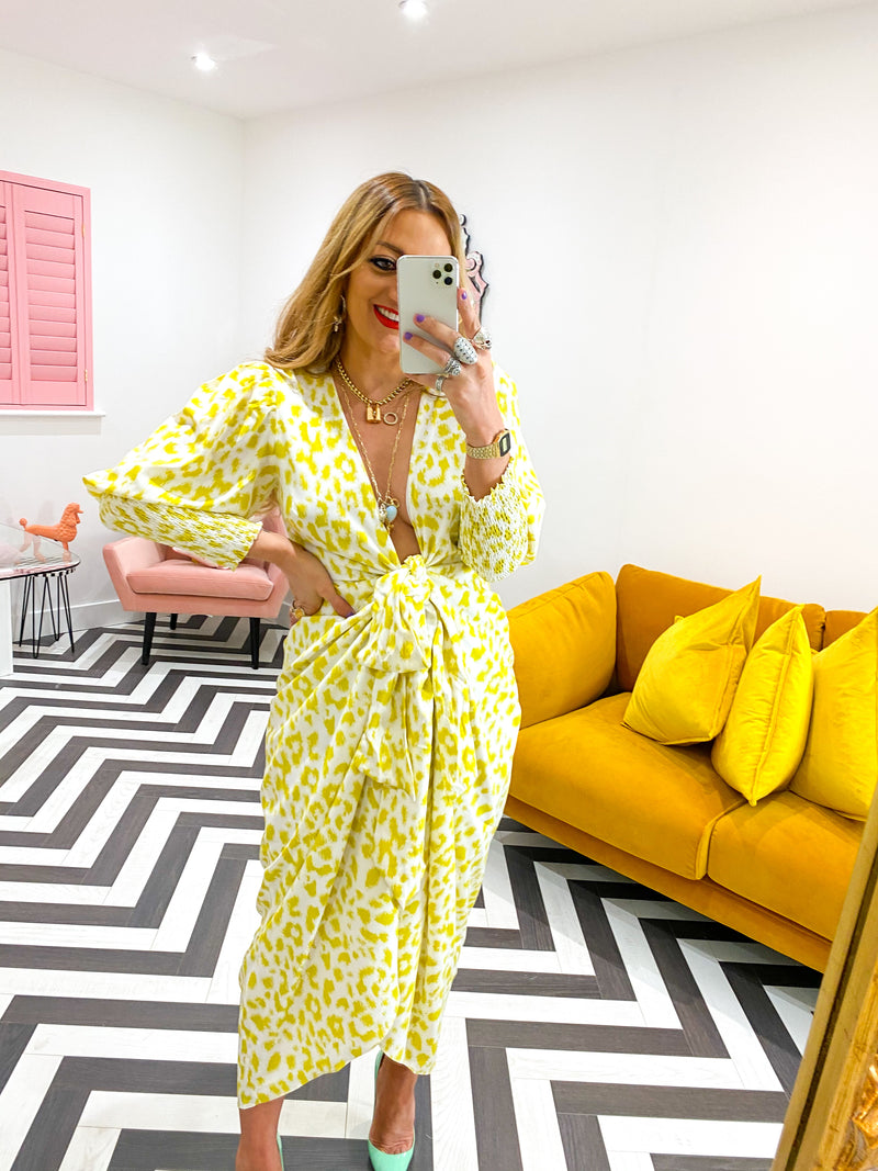 WRAP FRONT MAXI DRESS IN YELLOW LEOPARD