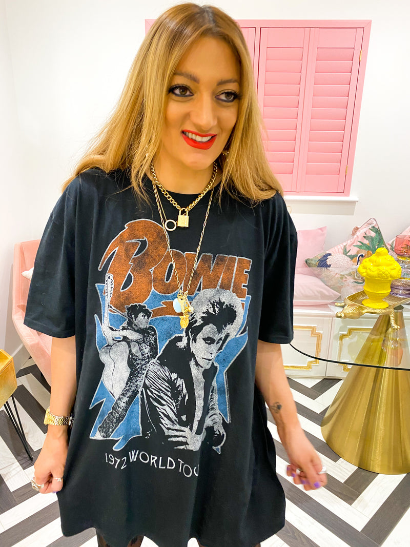 BOWIE WORLD TOUR TEE IN FADED BLACK