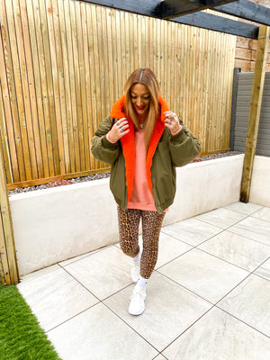 REVERSIBLE BOMBER JACKET IN KHAKI AND ORANGE
